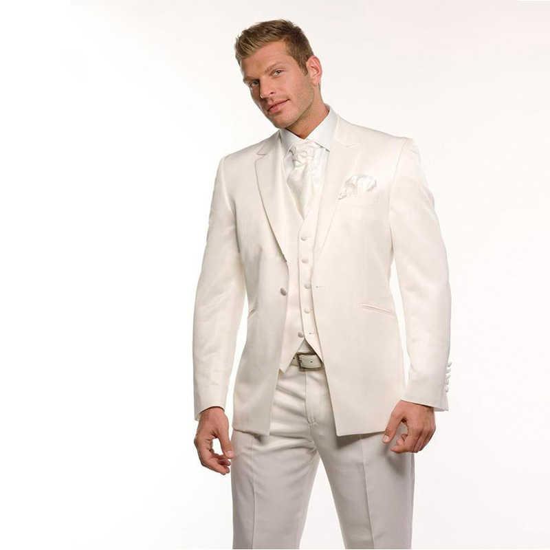 アイボリー結婚式の男性スーツスリムフィット新郎摩耗タキシード 3 個 (ジャケット + パンツ + ベスト) 花婿スーツブレザー衣装オムマリアージュ
