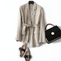 New Fashion Women Blazer Jacket Suit Spring Striped Linen Coat ashes Jacket Belt Blazers Outwear