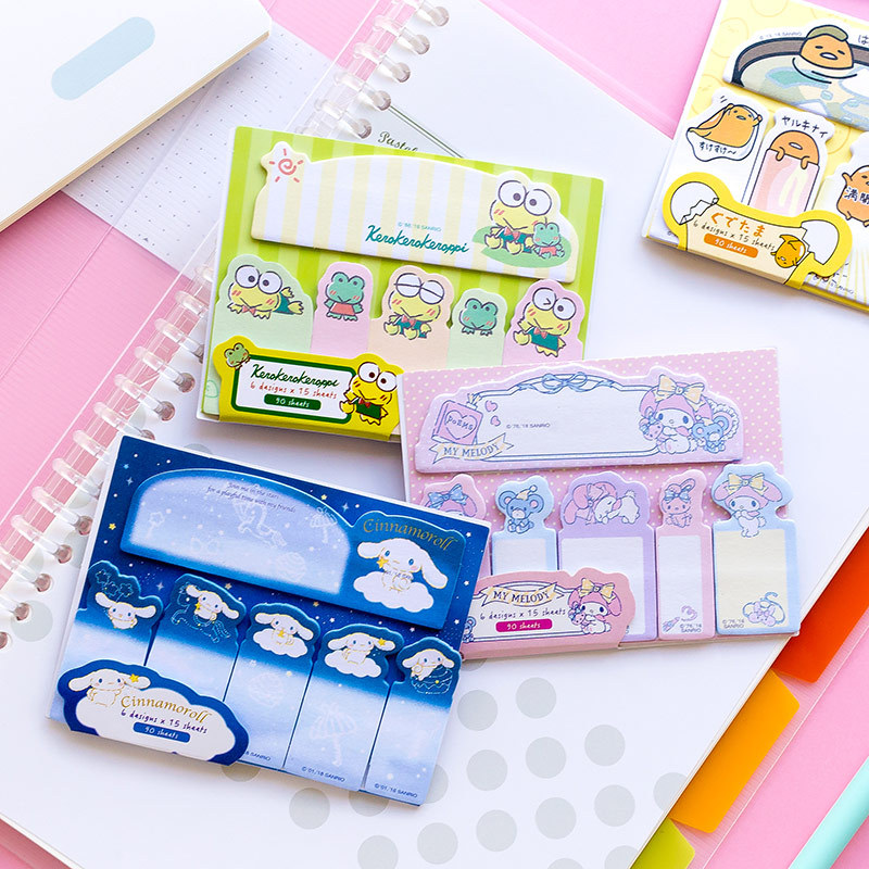 90 Pages /Pack Cute Frog Dog Gudetama Melody Kuromi Twin Stars Sticky Notes Memo Pads School Office Supply Stationery