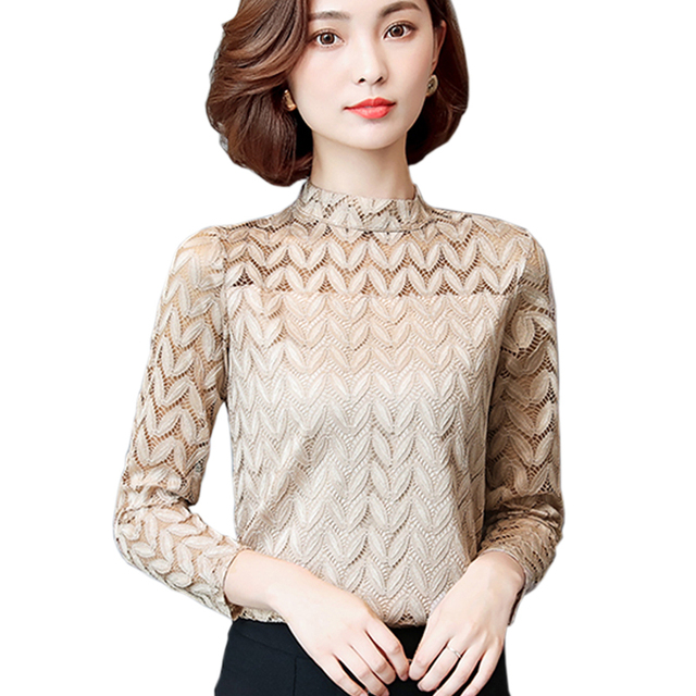 581299636f3 Korean Elegant Lace Tops Office Lady Fashion Long Sleeve Sexy Hollow Out  Vintage Lace Shirt Blouse