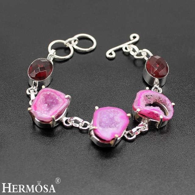 "HERMOSA Jewelry Real natural druse garnet 925 Sterling Silver Bracelets 7"" HF126"
