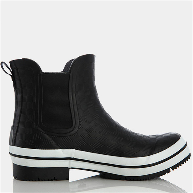 Schuhe Damen Stiefel Regen Mode Blau Ankle Chunky Gummi Weibliche Heels Schwarz Wasserdicht blue Black Frauen SZPp7P