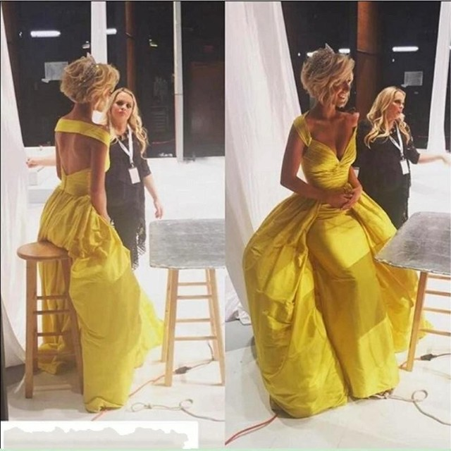 2f1f0dc9a82 Robe De Soiree long off the shoulder sexy v neck backless yellow prom dress  2019 taffeta ruched prom dresses evening gowns