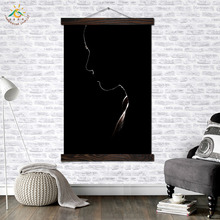 Black Girl Face Modern Wall Art Print Pop Picture And Poster Solid Wood Hanging Scroll Canvas Painting Home Decor