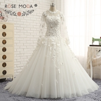 Rose Moda Sang Trọng Dài Tay Áo Arabic Bóng Gown Cao Cổ 3D Ren Đính Cườm Hồi Giáo Wedding Dress 2018