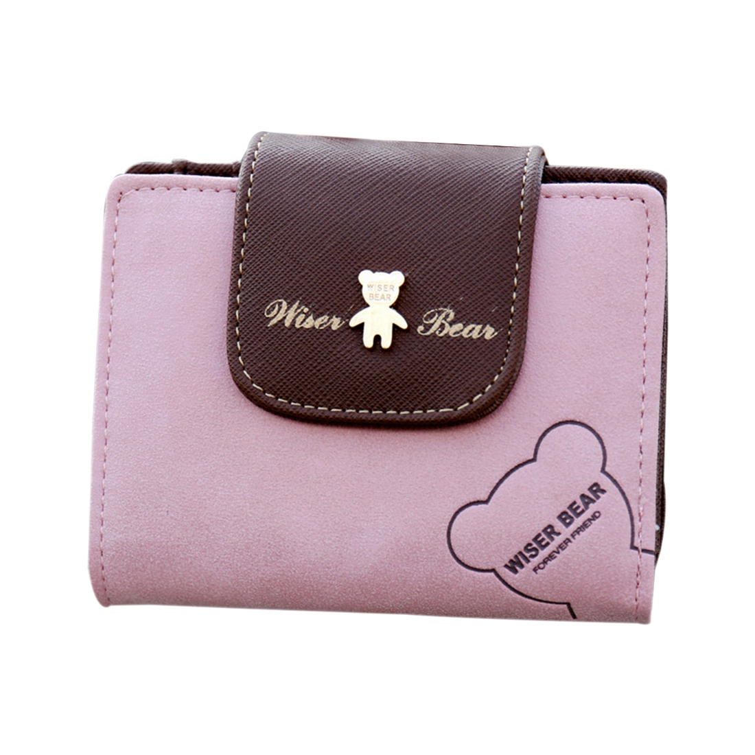 VSEN Fashion Lovely Bear Wallet Female Leather Small Change Clasp Purse Money Card Coin Holder Girls Women Purses(Pink)