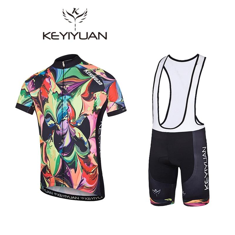 KEYIYUAN Abstract painting Summer Cycling clothing short sleeve mountain  bike Jersey Racing Bicycle clothing Cycling set da15ab5ff