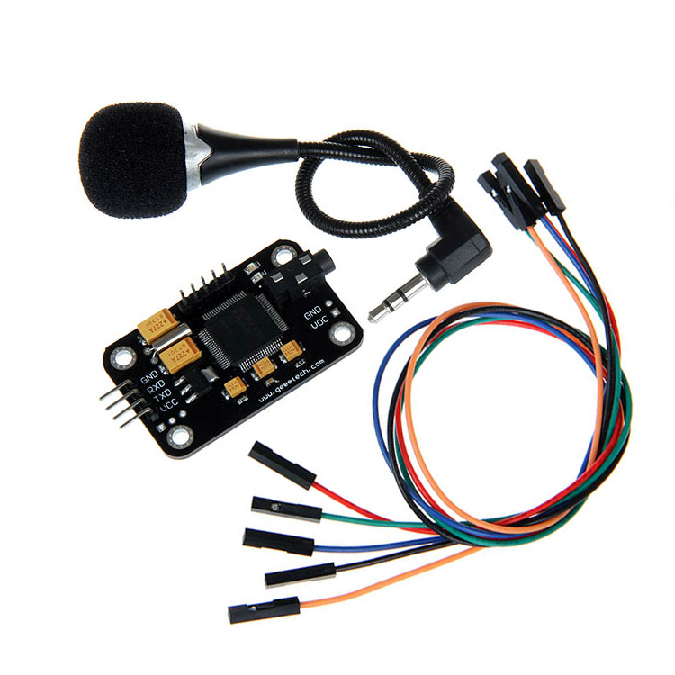 Voice Recognition Module & microphone Dupont Speed Recognition compatible for Arduino voice recording sensor 3d printer parts arduino wav player 22 1khz voice play sound broadcast module compatible with rpi stm32
