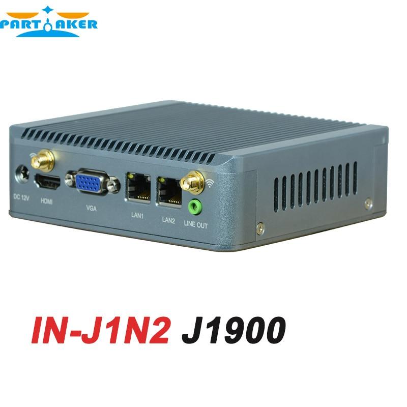Fanless J1900 Small Desktop PC with 2* rj45 Ethernet USB3.0 Support wifi 3G Quad Core Mini Ubuntu PC