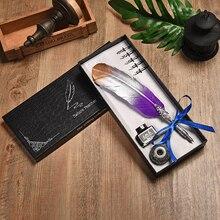 クイルセットギフトボックス万年筆ペンヨーロッパスタイルヴィンテージ羽ペンのディップペン水万年筆ビジネスギフト