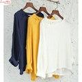 Causal gola redonda inclinado botões off-ombro T-shirt das mulheres verão branco puro linho de algodão de manga longa tops