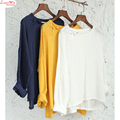 causal round collar slant buttons off-shoulder T-shirt women summer pure white long sleeve cotton linen tops