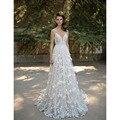 2016 Summer Bohemia Wedding Dresses with Appliques Sexy V Neckline Lace Beach Wedding Gowns for Brides abito da sposa nero