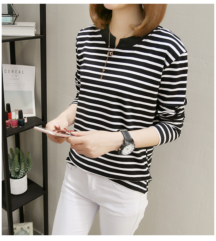 NFIVE Brand 2017 Women's Stripe Loose T-shirts Korean Autumn New Long Sleeved Large Size Shirt Quality Fashion Cotton T-shirt 16