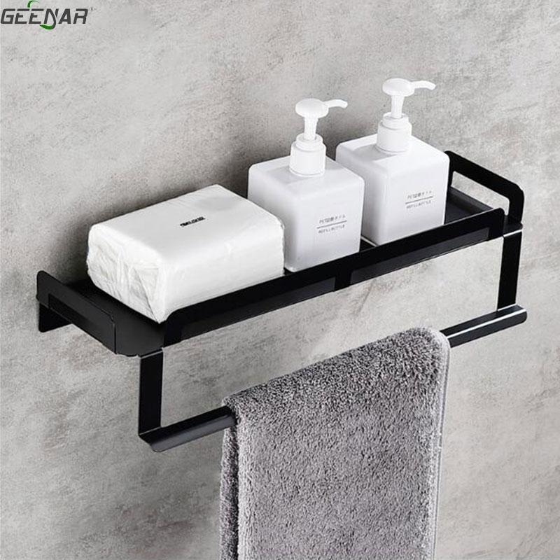 Noir salle de bains serviette rack de stockage, salle de bains wc table de lavage, acier inoxydable tenture plateau simple
