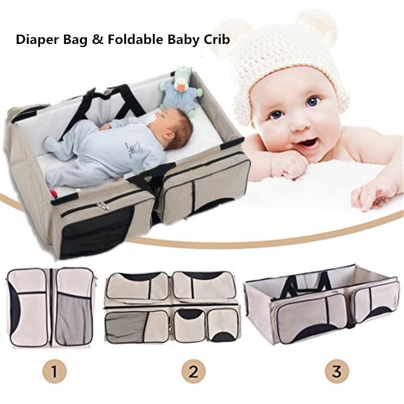 3 in 1  Diaper Bag Baby Travel Bassinet & Portable Diaper Changing Station Mummy Messenger Bag Foldable Outdoor Baby Crib Casual цена и фото
