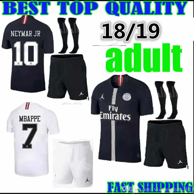 d6c382375 18 19 adult kit psg champions league soccer jersey Paris mbappe black 2018  2019 psg kit