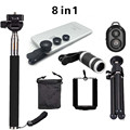 8in1 8x Zoom Phone Camera Lens for Universal Cell Telescope Fisheye Wide Angle Macro Bluetooth Shutter With Selfie Stick Tripod