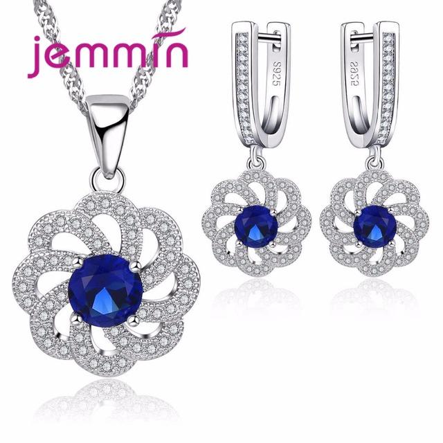 Jemmin Vintage Blue Austrian Crystal Pendant Necklace Earrings Set For Women Accessory Fine 925 Sterling Silver Jewelry Sets
