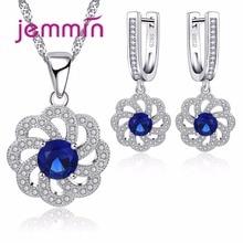 цены Jemmin Vintage Blue Austrian Crystal Pendant Necklace Earrings Set For Women Accessory Fine 925 Sterling Silver Jewelry Sets