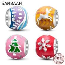 Sambaah High Class Enamel Merry Christmas Charms 925 Sterling Silver Xmas Reindeer Tree Beads for Original Pandora DIY Bracelet стоимость