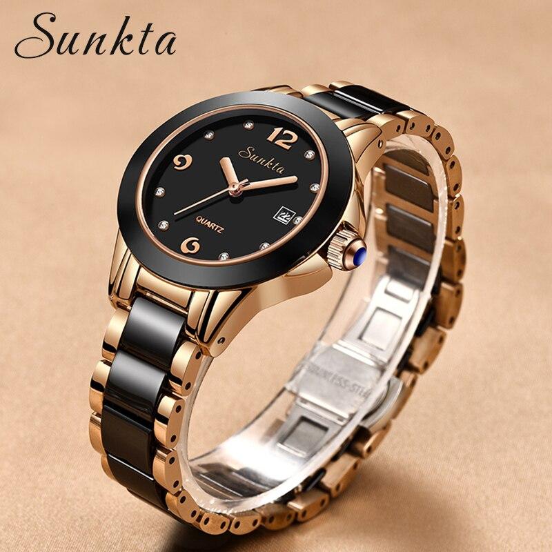 SUNKTA Women Watches Luxury Wrist Watch relogio feminino Clock for Women Milanese Steel Lady Rose Gold Quartz Ladies Watch 2019