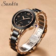 цена на SUNKTA Women Watches Luxury Wrist Watch relogio feminino Clock for Women Milanese Steel Lady Rose Gold Quartz Ladies Watch 2019