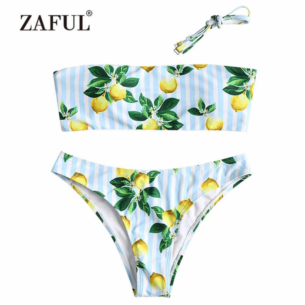ZAFUL Bandeau z cytryny Bikini stroje kąpielowe kobiety strój kąpielowy Sexy Halter bez ramiączek z cytryny w paski usztywniony kostium kąpielowy Bikini strój kąpielowy