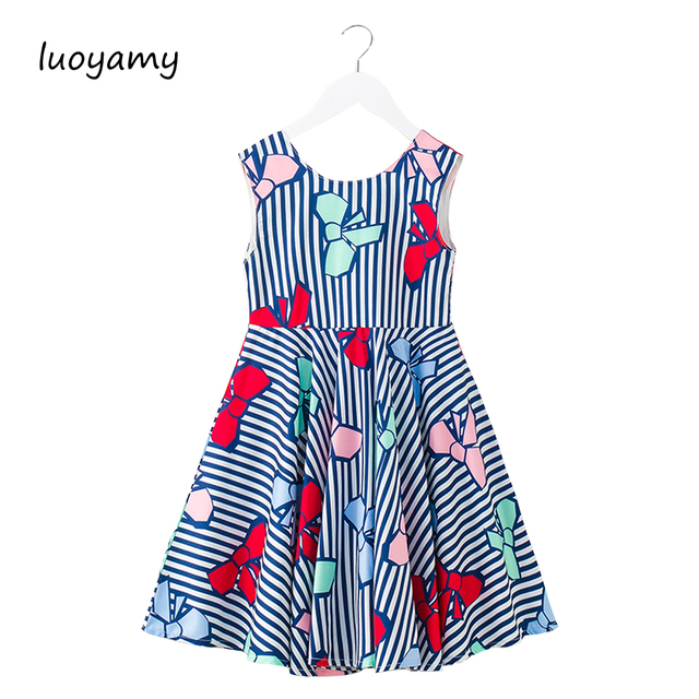 luoyamy 2018 New Design Summer Toddler Baby Girl Clothing Casual Bow Print Princess  Dress Backless Vestidos For Girls d17c293c9fa9
