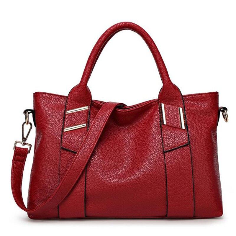 ФОТО Women Messenger Bags Ladies 2016 Fashion Brand Leather Handbag European Women Large Capacity Casual Tote Handbags Hot Sale