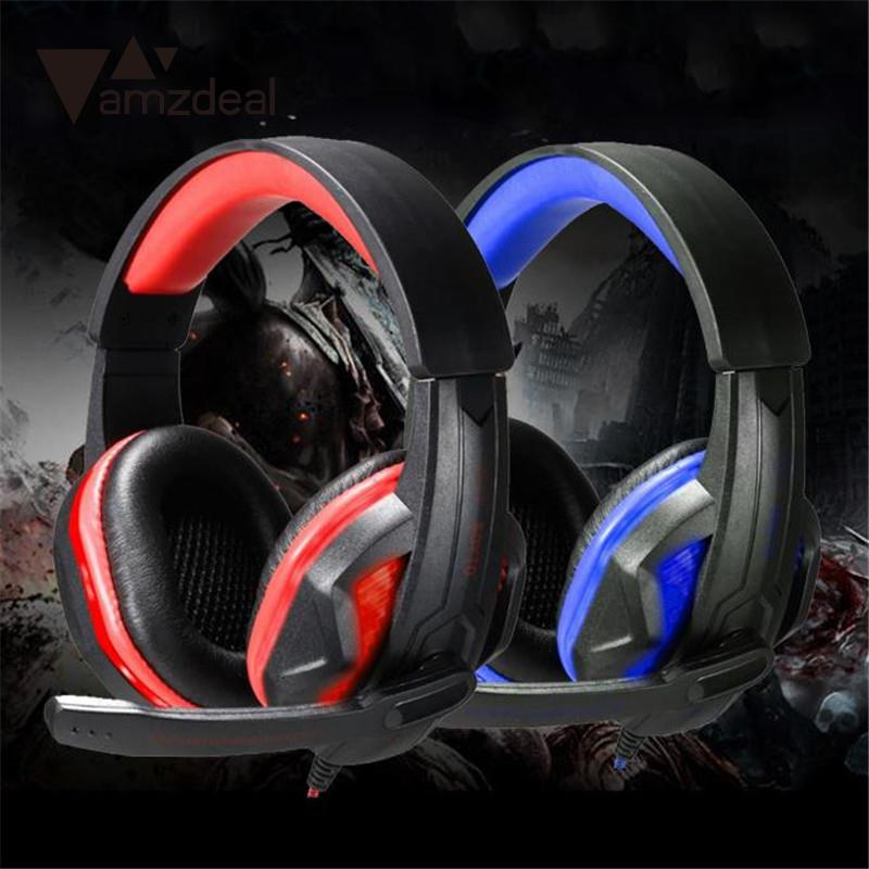 amzdeal USB Power Wired LED luminous Bass Gaming Headphone Casque Earphone headfone w/MIC For Computer Notebook Gamer chat skype 3 5mm wired headphone foldable headset music stereo bass casque audio with microphone for computer pc gamer mp3 player headfone
