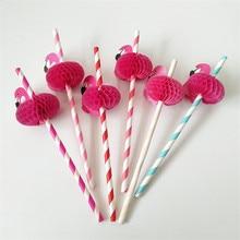 Fashion 50Pcs/Pack Flamingo Paper Straws Disposable Drinking Straws Favors Wedding Decoration Festive Birthday Party Supplies