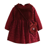Baby Girl Lace Dress Kids Thickened Long Sleeved O Neck Dress Winter Clothes Children S Clothing