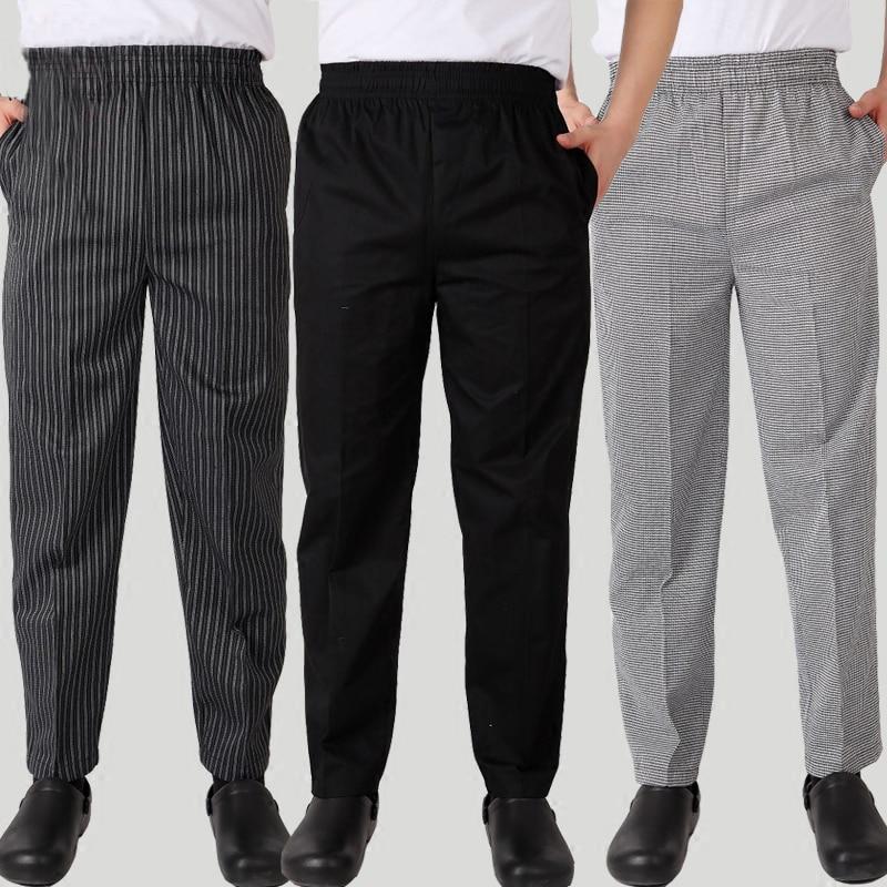 New Chef Uniform Restaurant Pants Kitchen Trouser Chef Pants Black Elastic Waist Bottoms Food Service Pants Mens Work Wear