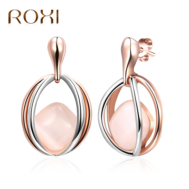 ROXI Fashion Earrings Jewelry Trendy Rose Gold /Silver Color Austrian Crystal Opal Earrings Wedding For Women Gift oorbellen