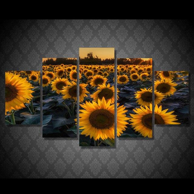 Unframed 5 Stücke Wandkunst Modularen Bilder Sonnenblumenfeld In Abend  Moderne Gemälde Auf Leinwand Öl Mauerbilder Für