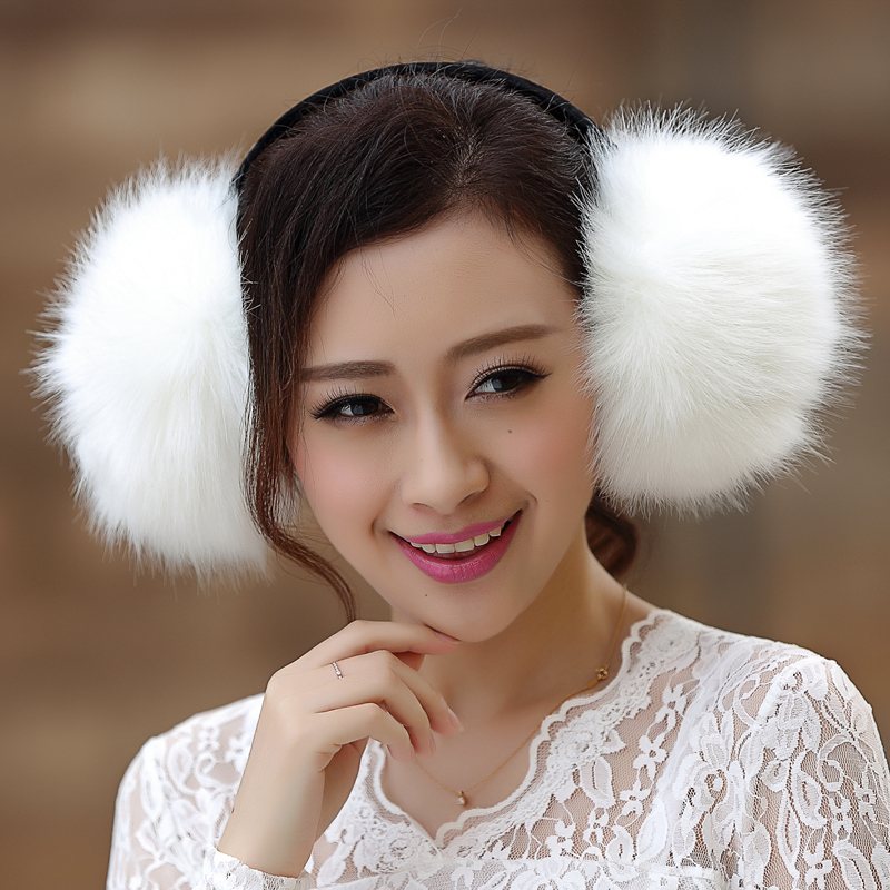 large faux fox fur earmuff unisex men
