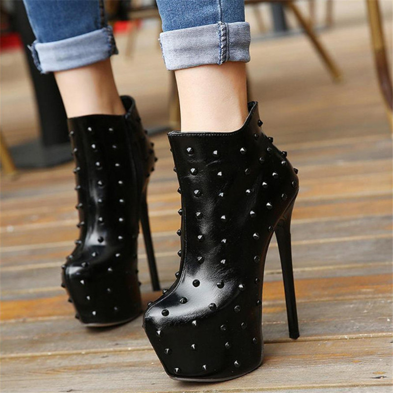 Rivet Ankle Boots For Women Extremely Sexy High Heels 15cm Stiletto Heel Women High Boots Autumn Winter Shoes Black Pumps white model stage performance women s boots autumn winter low tube boots crystal shoes 15cm high heel dance shoes