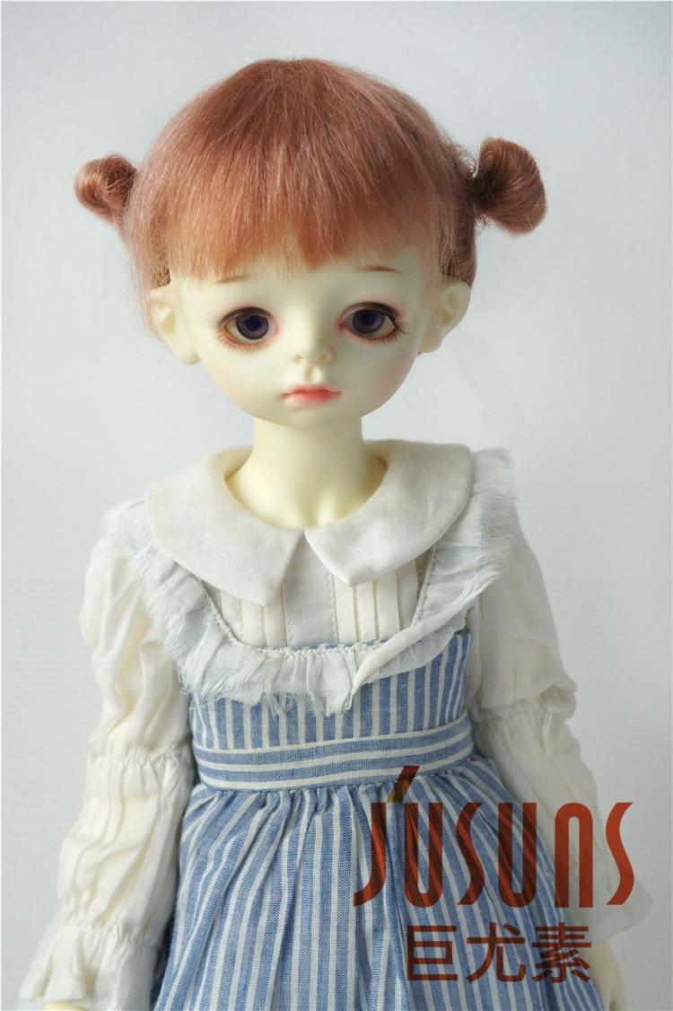 JD415 большой размер две косы BJD мохер парики в размере 8-9 дюймов 10-11 дюймов для кукол мягкие модные волосы куклы аксессуары - Цвет: 8-9inch Dark Pink
