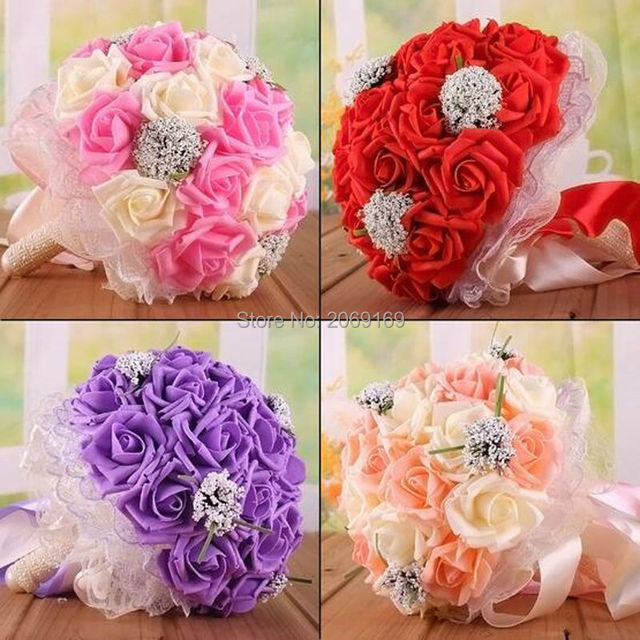 2017 Hot Sale Free Shipping Wedding Bouquet 9 Types 24 Handmade PE Roses Bouquets De Noiva Wedding Flowers Bridal Bouquets