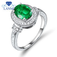 High Quality Columbia Emerald And Diamond Rings In White Gold 14k Oval Cut 7x9mm G090380