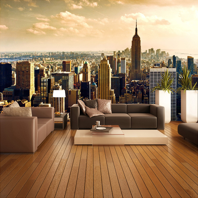 Custom 3d mural wallpaper roll city views living room sofa for 3d room wallpaper background