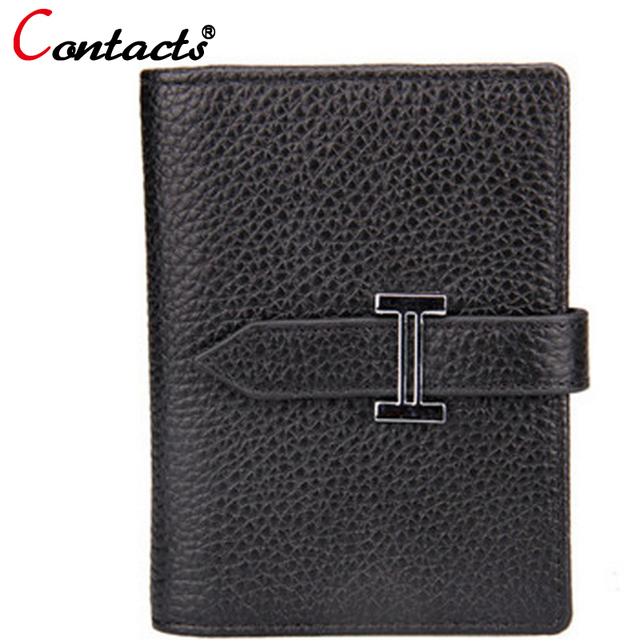 CONTACT'S Genuine Leather Short Women Card Holder multiple Colour Korean Casual Mini Card bag Famous Brand Design Dollar Price