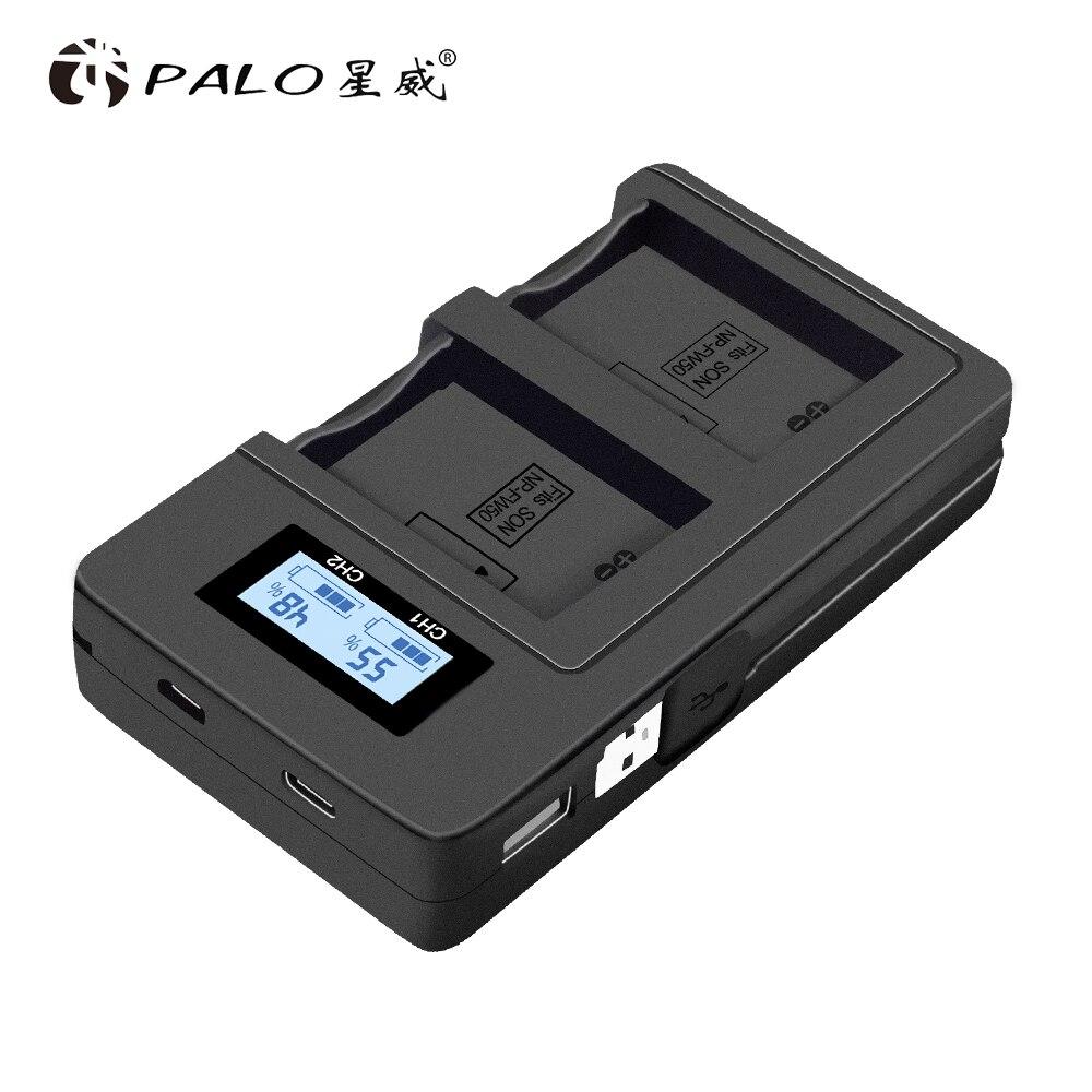 PALO NP-FW50 cargador de batería de la Cámara npfw50 fw50 LCD cargador Dual USB para Sony A6000 5100 a3000 a35 A55 a7s II alfa 55 alfa 7 A