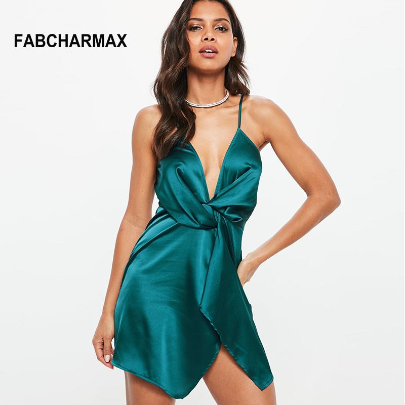 sexy summer short satin dress women V neck strap casual irregular wrap dress  twist front style 57d2675a9236