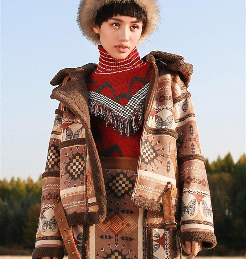 Магазин Джессики зима для женщин Винтаж Народная Индийский тотем печати повседневное свободные с капюшоном утепленная теплая замш