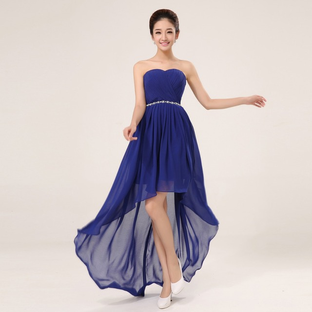 1c93ca00deba Elegant design 2015 Sexy Strapless Sweetheart Women Blue Chiffon Short Prom  Dresses Beading Evening Gown Formal Party Dress
