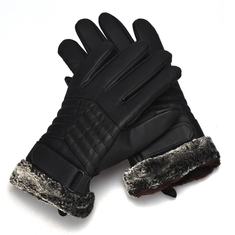 Gant mens leather gloves - Men Mittens Gloves Artificial Leather Anti Slip Men Thermal Winter Leather Gants Tactile Gloves Gants Femme