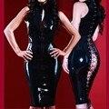 Fancy PVC Látex Traje de Verano Estilo Sexy de Cuero de Imitación Caliente Frente Abierto Con Cremallera Volver Vestido de Traje De Látex De Vinilo