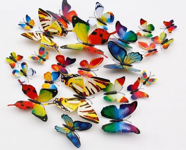 2016 New 12pcs DIY Colorful Decal 3D Butterfly Wall Sticker Art PVC Paper Decor For Kids